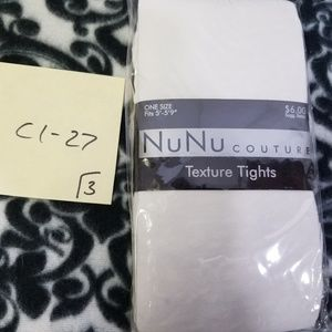 Nu&Nu Couture White Cheetah Textured Tights Womens